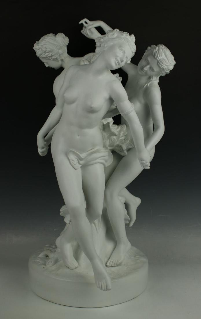 "22"" French porcelain parian figurine ""Three Graces"""