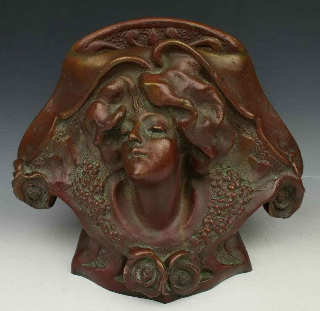 """Paul Philippe (France,1870-1930) Bronze """"Vase with Head"""