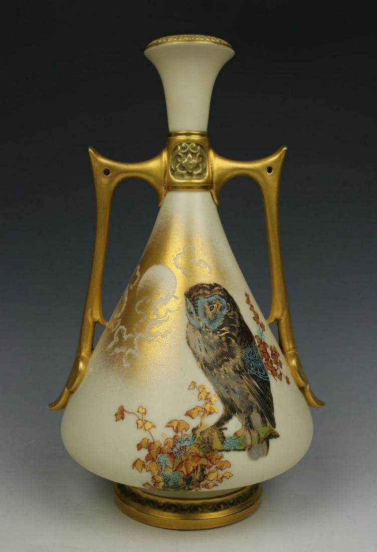 19C Royal Worcester Charles Baldwyn 1021 Vase with Owl