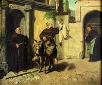 August Kraus (German,1852-1917) oil painting antique