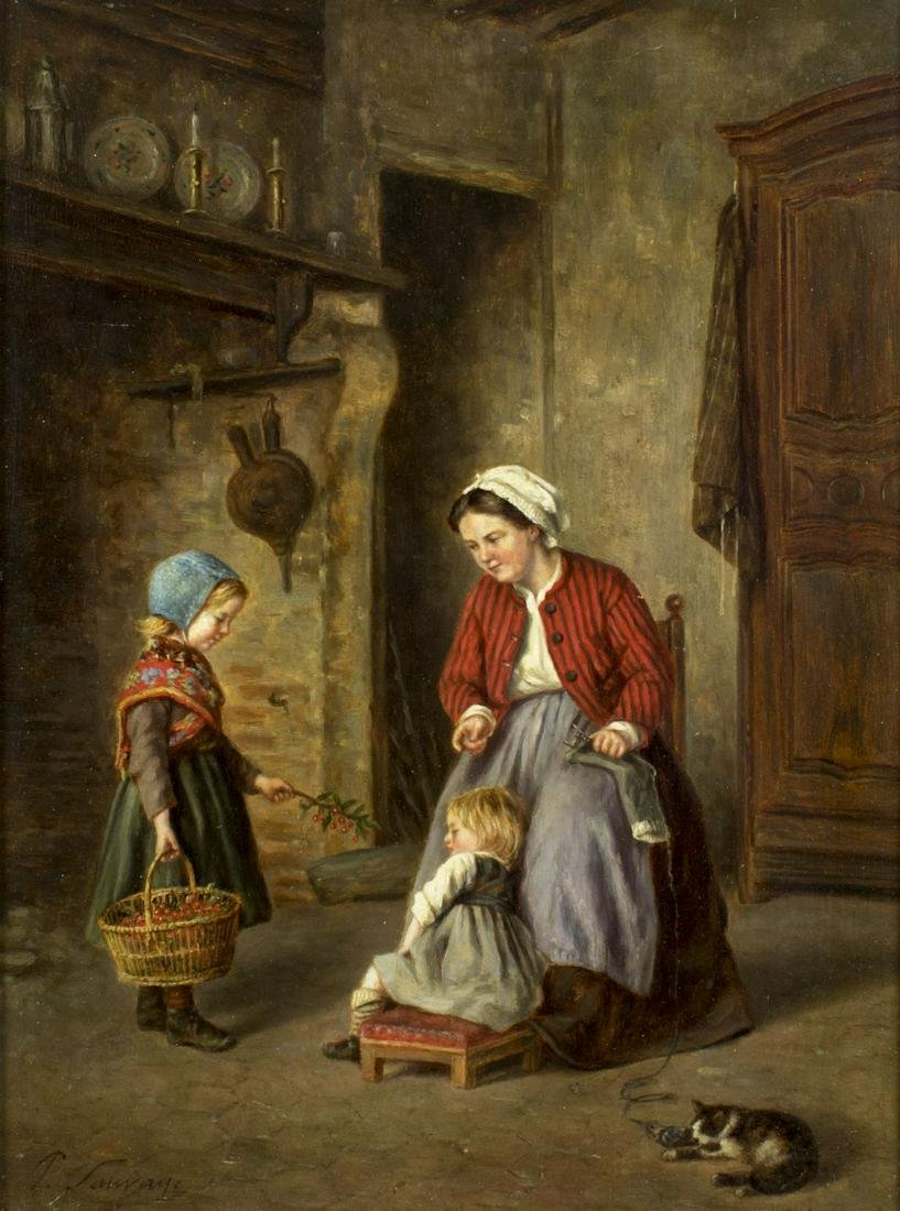Philippe Francois Sauvage (french,19C) oil painting