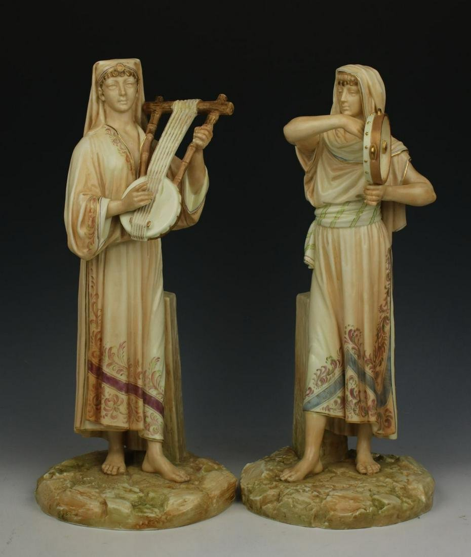 """Royal Worcester 2 figurines 1084 """"Egyptian Musicians"""""""