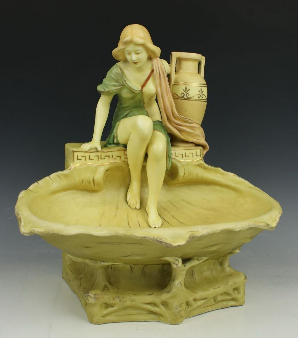 """Royal Dux art nouveau figurine """"Bowl with Woman with"""