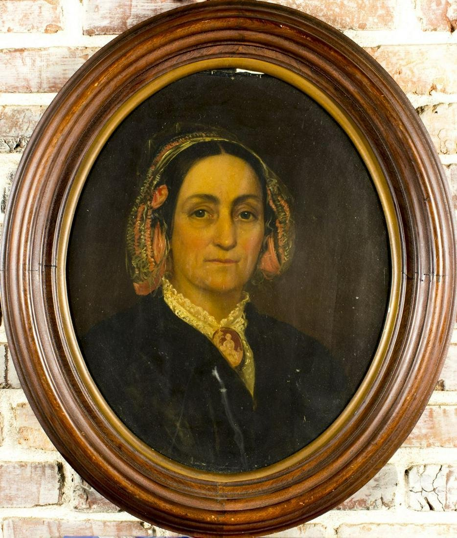 """19C american oil on canvas """"Portrait of Old Woman"""""""