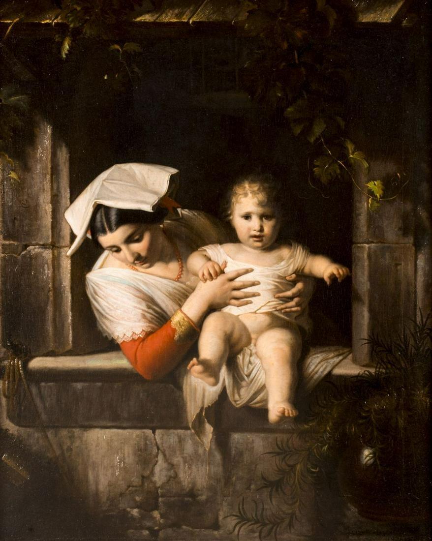 Giuseppe Mazzolini (Italy,1806-1876) oil painting