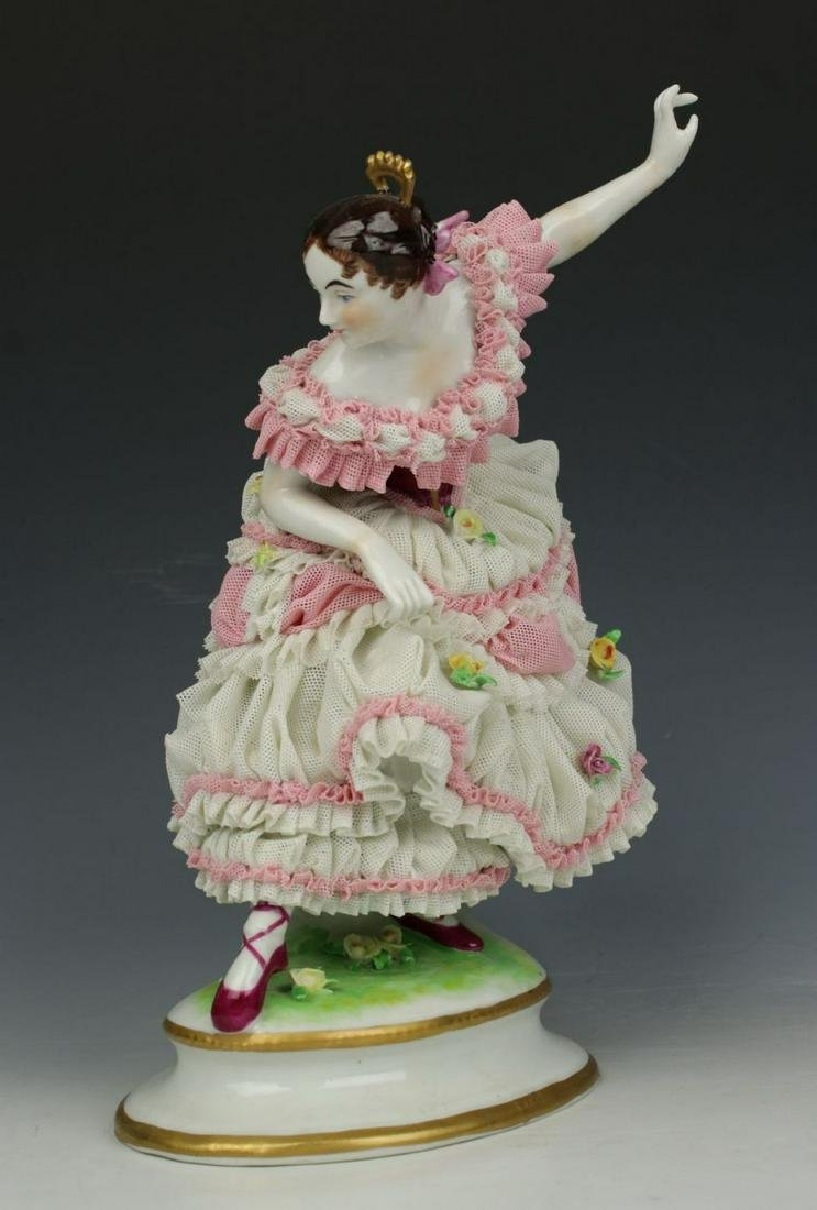 "Antique German Muller Volkstedt figurine ""Dancing Lady"""