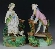"19C Vion & Baury figurines ""Man on Bridge & Woman with"