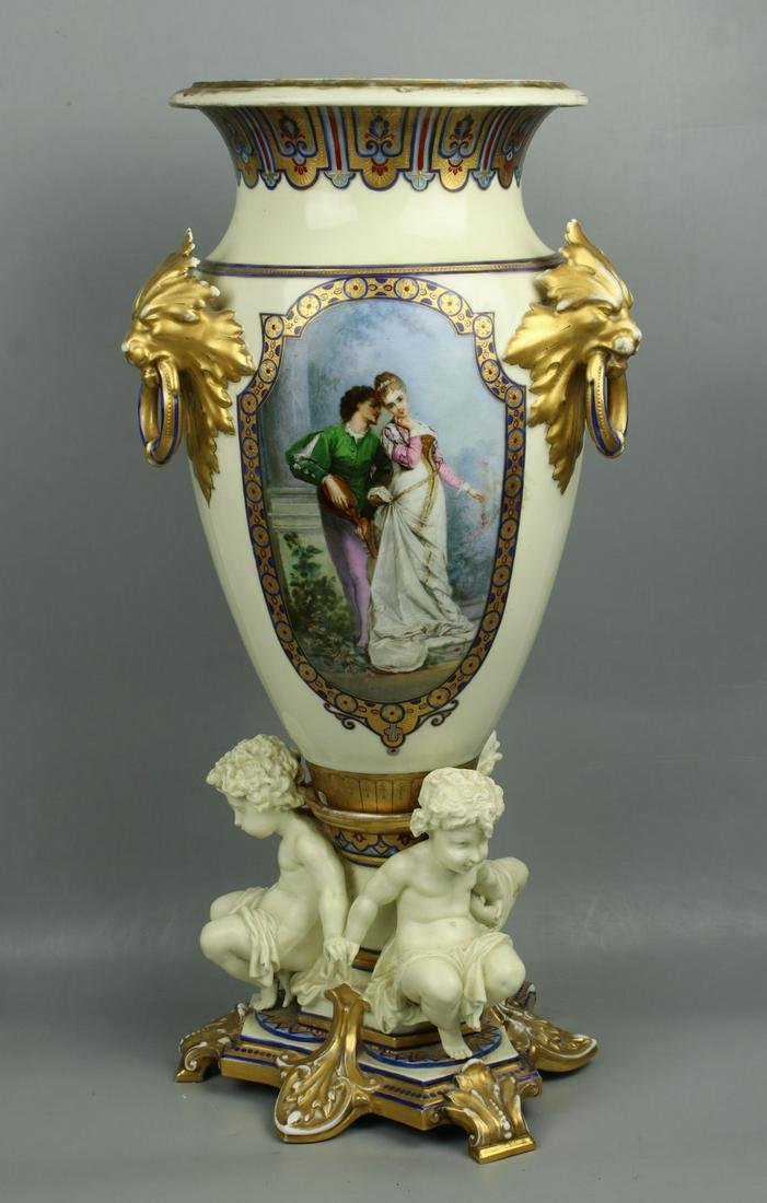 "23"" 19C French hand painted porcelain Vase with Three"