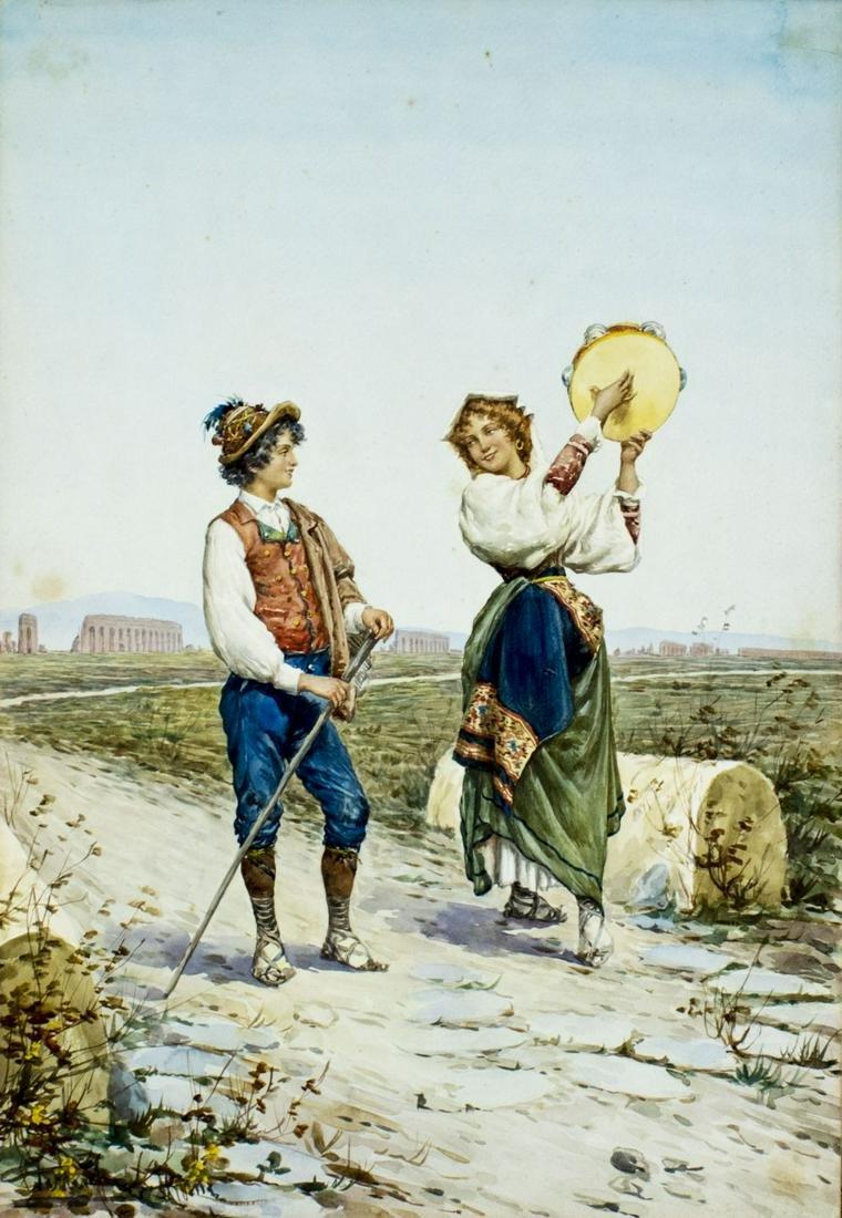 Carlo Ferranti (Italy,1840-1908) watercolor painting
