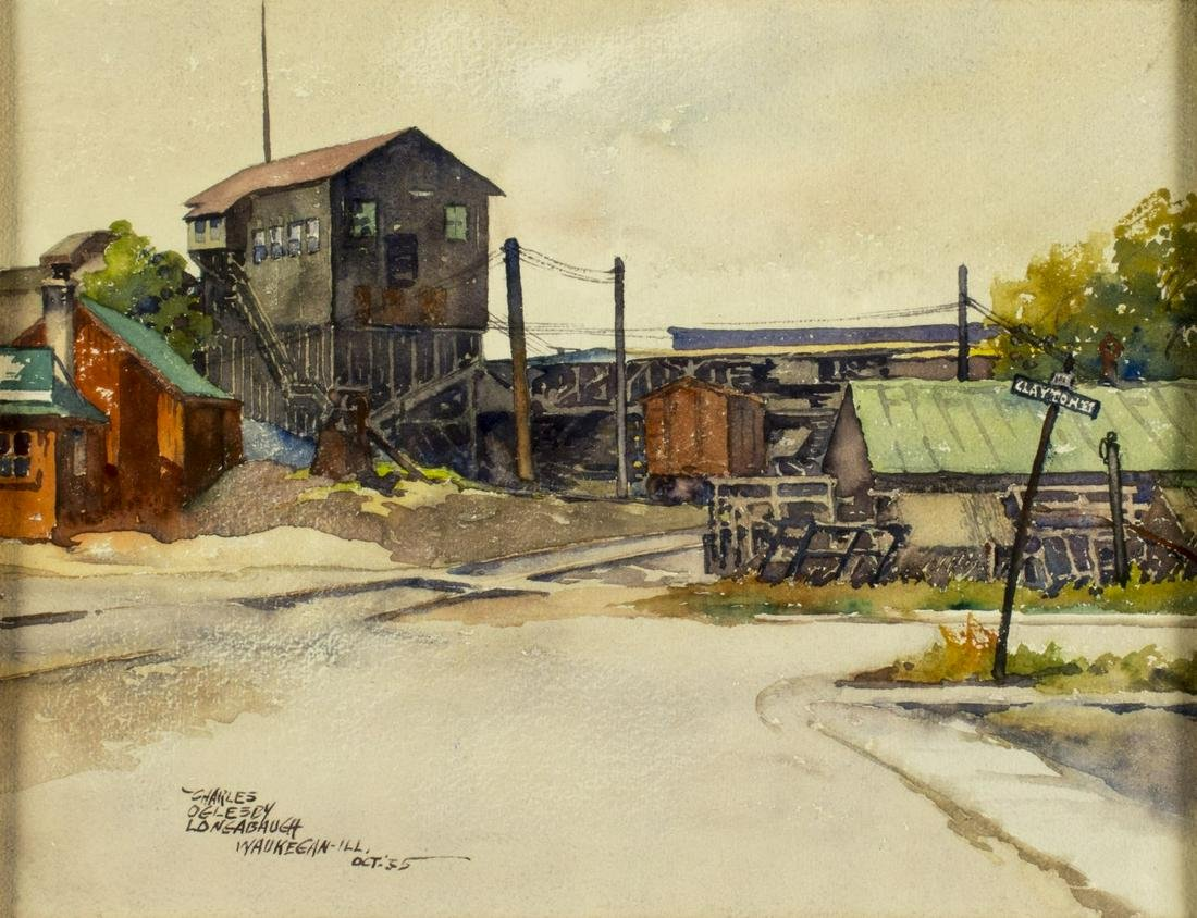 Charles Longabaugh (IL,1885-1944) watercolor painting