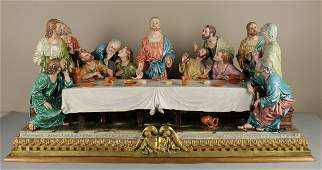 "36"" Capodimonte Bruno Merli Figurine ""Last Supper"""