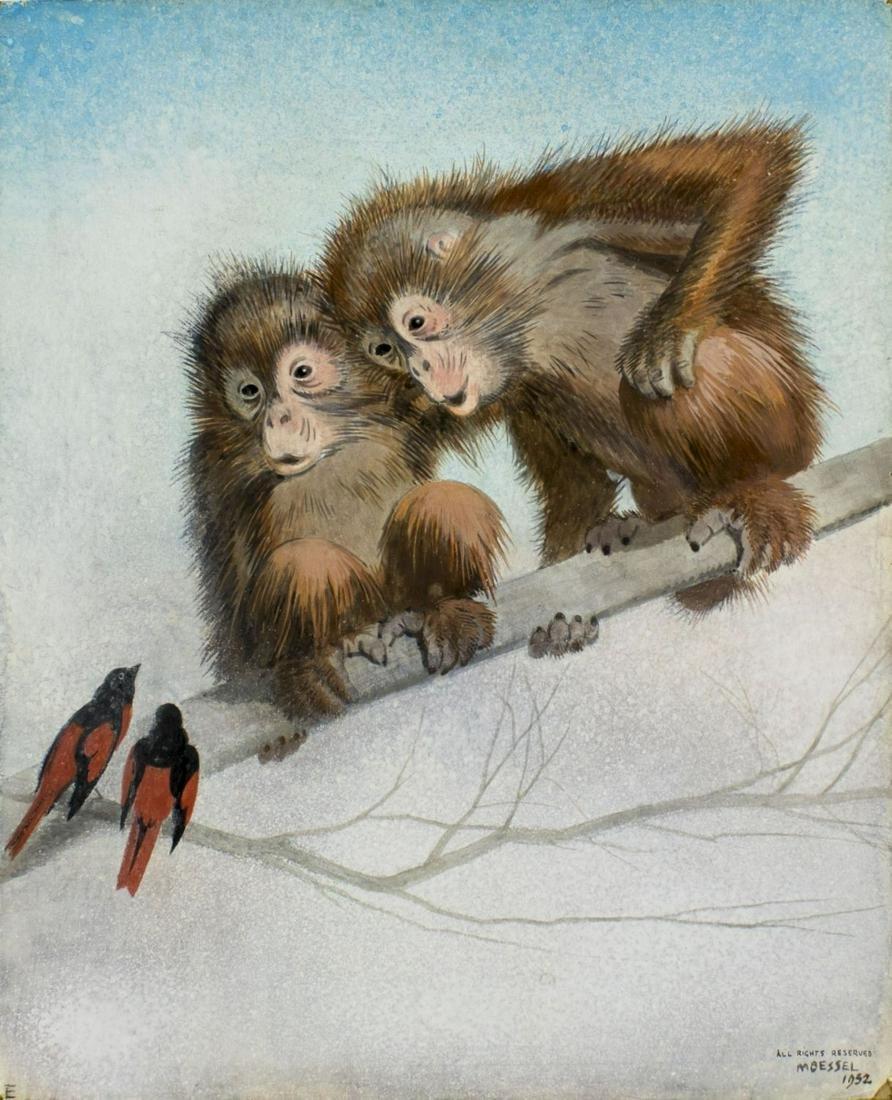 Julius Moessel (IL,German,1871-1957) gouache painting
