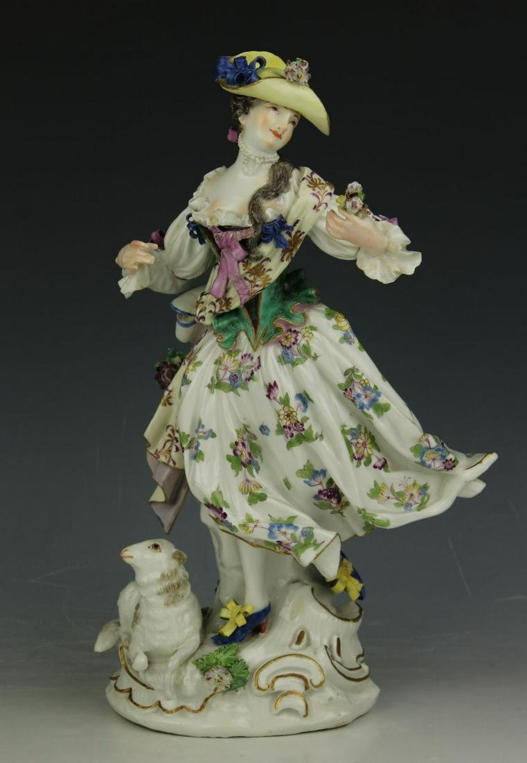 "19C Meissen Figurine ""Lady with Flowers and Sheep"""