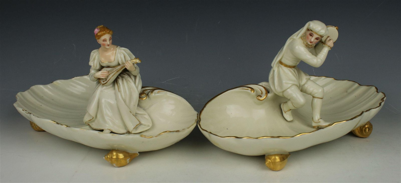 """19C Royal Worcester figurines """"Man & Woman Playing"""