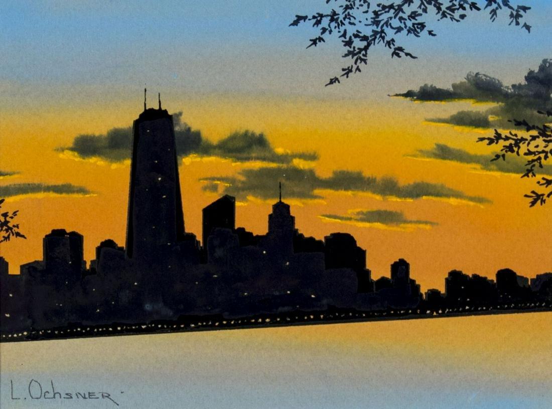 L. Ochsner (IL,20C) watercolor painting antique
