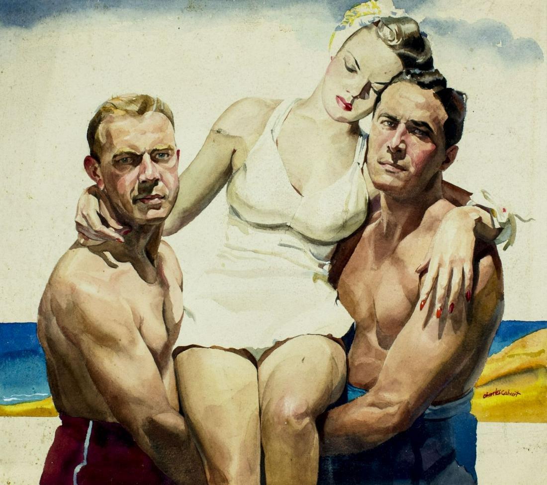 Charles Calvert (US,mid 20C) watercolor painting
