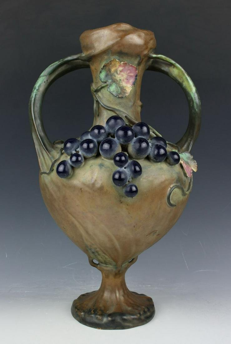 "15"" Antique Amphora Turn Teplitz Vase"