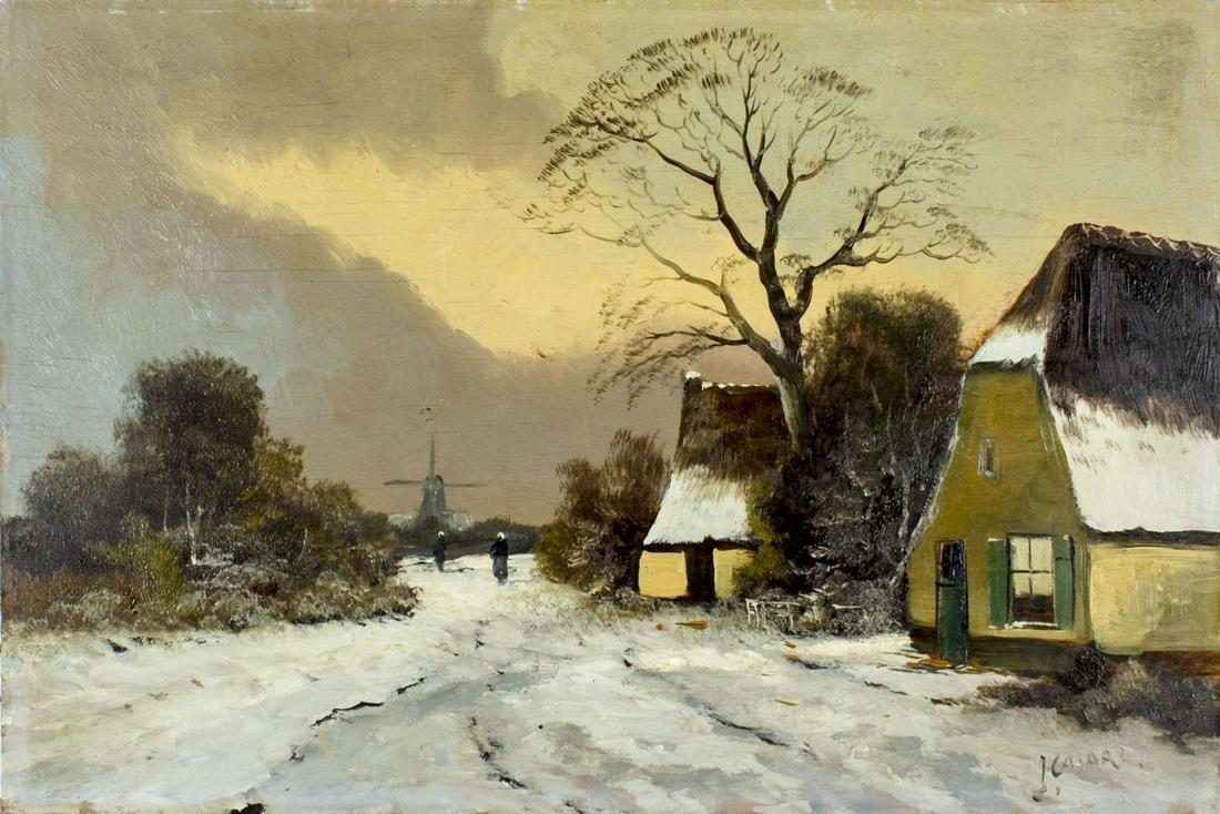 J Casari (Dutch,20C) oil painting antique