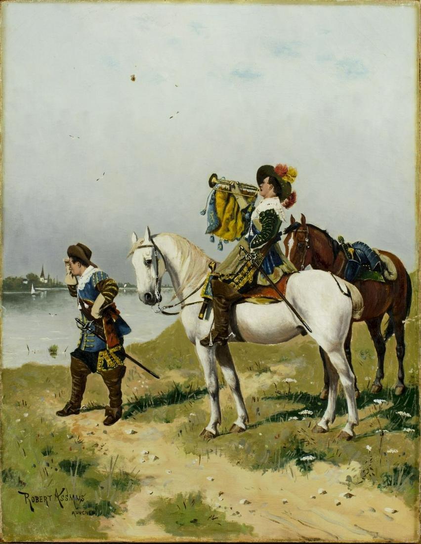Robert Assmus (german,1837-1904) oil painting antique