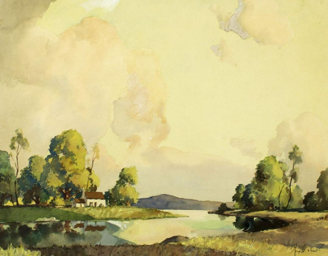 John Cuthbert Hare (MA,FL,1908-1978) watercolor on