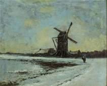 Antique 19C Dutch oil painting landscape