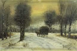 Antique 19C European oil painting signed Landscape