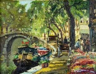J Keyser (Dutch,mid 20C) oil painting antique