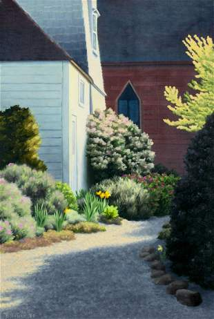 Martha Jane Bradford (AL,NH,b 1946) oil painting
