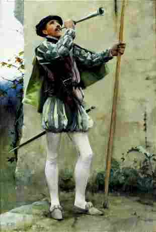 Frank Wright Bourdillon (UK,1851-1924) oil painting
