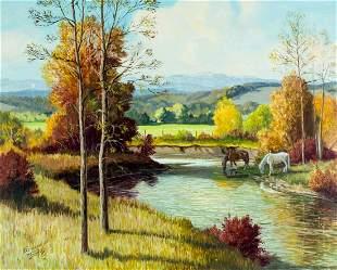 Bernard Preston Thomas (FL,WY,1918-1992) oil painting