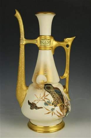 19C Royal Worcester Charles Baldwyn 892 Teapot with Owl