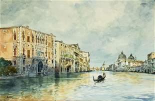 Carlo Antonio Montesi (Italy,1920-?) watercolor