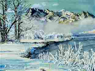 Orla Keith Dygert (IL,1926-1986) watercolor painting