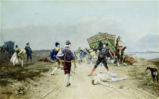 Aurelio Roberti (Italy,1842-1915) watercolor painting