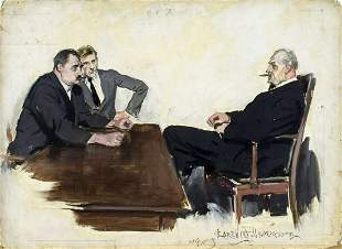 Clarence Underwood (NY,1871-1929) gouache painting
