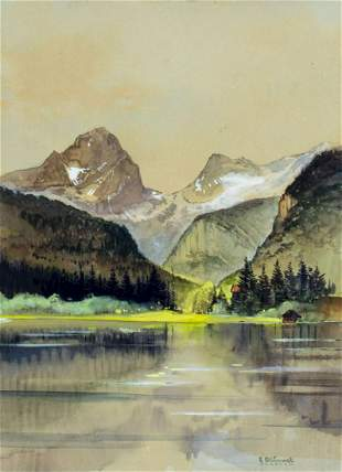 Carl Blumel (German,1893-1976) watercolor painting