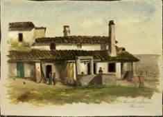 """Italian painting oil on canvas """"Farm House Near"""