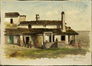 "Italian painting oil on canvas ""Farm House Near"