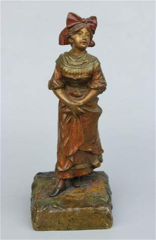 "Antique Austrian Bronze ""Woman with Head Bow"""