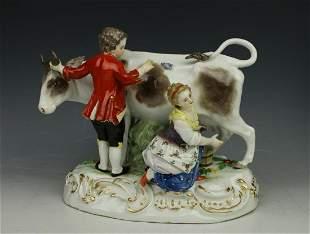 "Meissen Figurine R79 ""Boy and Girl Milking Cow"""