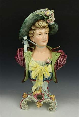 "Antique Royal Dux Majolica figurine ""Bust of Lady"""