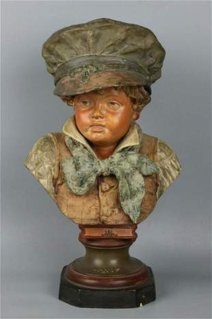 Antique Austrian terracotta figurine Bust of Boy