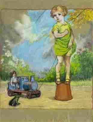 Richard Bertram Ogle (UK,1889-1976) pastel painting