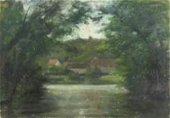 Antique early 20C French oil painting landscape
