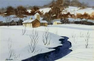 Michael J Weber (Ohio,born 1941) watercolor painting