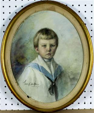 Marion Markham (NY,1875-1918) watercolor painting