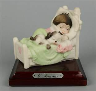 "Giuseppe Armani Figurine 360P ""Boy Sleeping with Puppy"""