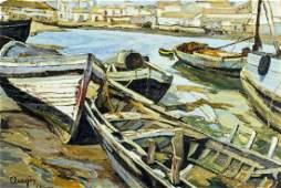 Aragon (US,20C) oil painting antique