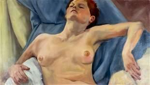 Vintage American oil painting Nude