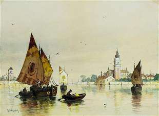 Andrew Bunner (NY,Italy,1841-1897) watercolor painting
